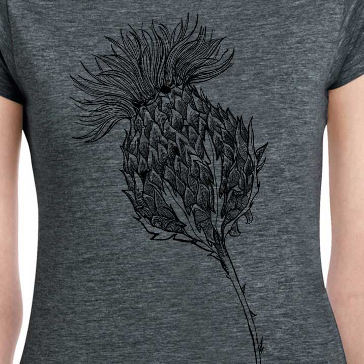 Flower of Scotland Scottish thistle t-shirt for women in charcoal by Gillian Kyle