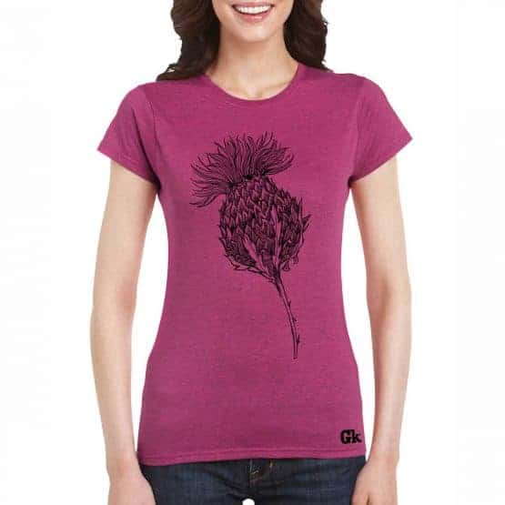 Women's Scottish Thistle t-shirt in rose by Gillian Kyle