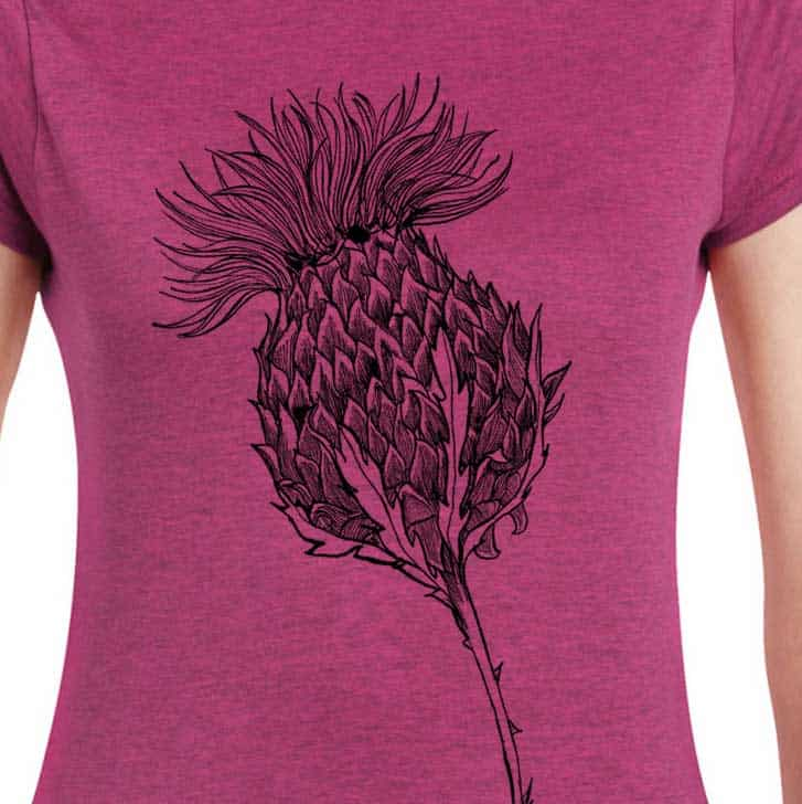 Flower of Scotland Scottish thistle t-shirt for women in rose by Gillian Kyle