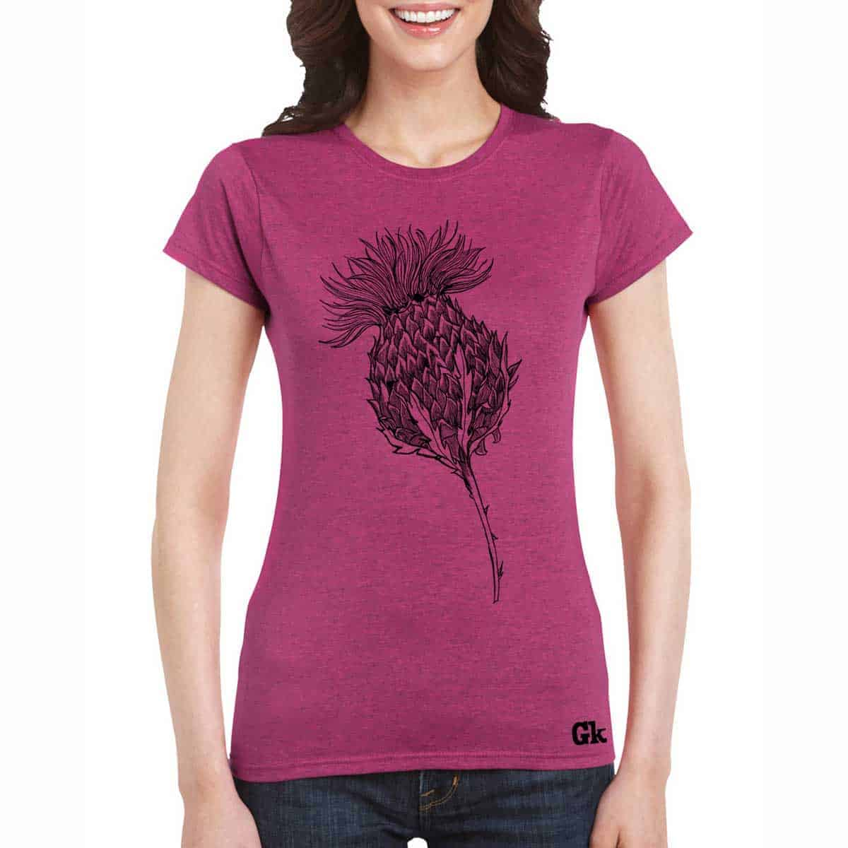 f3fa7dd54 Flower of Scotland Scottish thistle t-shirt for women in rose by Gillian  Kyle