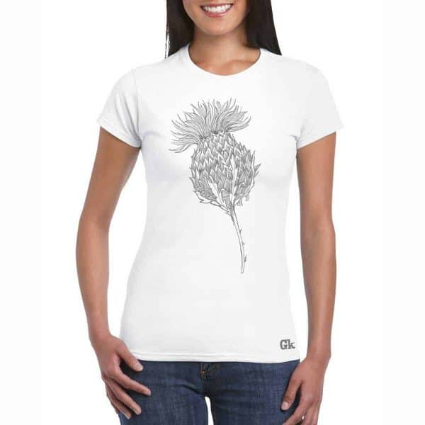 Flower of Scotland Scottish thistle t-shirt for women in white by Gillian Kyle