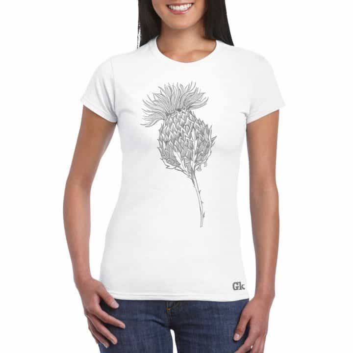 Women's Scottish thistle t-shirt for women in white by Gillian Kyle