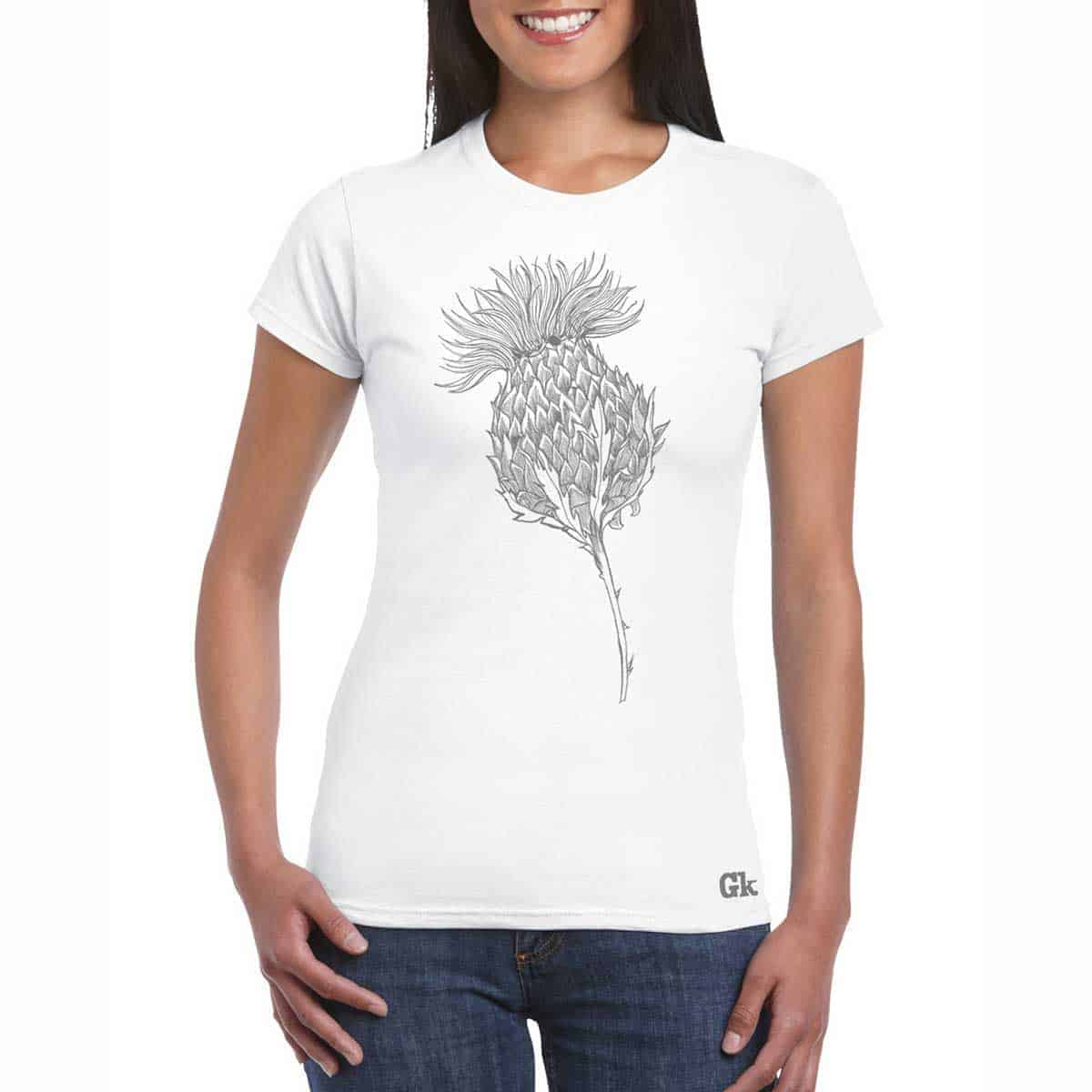 Scottish Thistle T Shirt In White