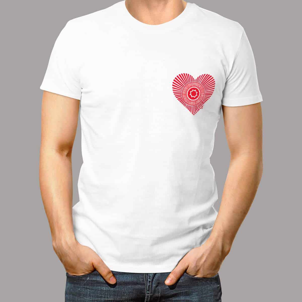 Mens t-shirt with Love Tunnock's heart design by Gillian Kyle - great Valentines gift for a man