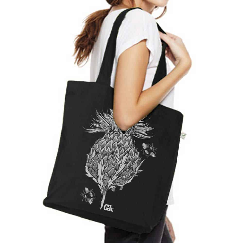 Flower of Scotland Scottish thistle organic cotton canvas tote bag in black by Gillian Kyle