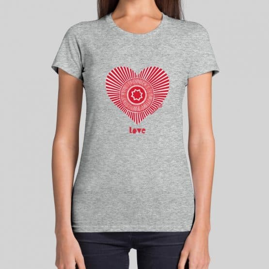Grey Love Tunnock's t-shirt by Gillian Kyle featuring the Teacake Wrapper in a heart shape