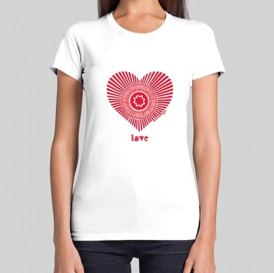 Red Love Tunnock's t-shirt by Gillian Kyle featuring the Teacake Wrapper in a heart shape