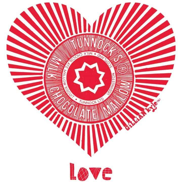 Red Love Tunnock's t-shirt by Gillian Kyle featuring the Teacake Wrapper in a heart shape print detail