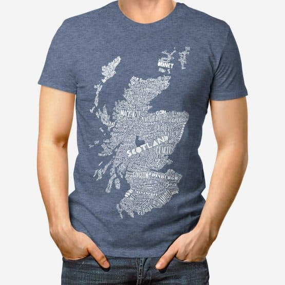 large hand drawn Scotland map print t-shirt by Gillian Kyle