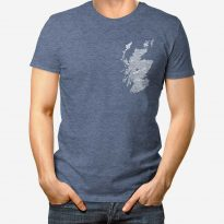 large hand drawn Scotland map print t-shirt with pocket print by Gillian Kyle