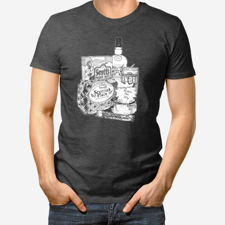 Scottish foods and brands t-shirt with Irn-Bru, porridge, scotch pies and whisky print by Gillian Kyle