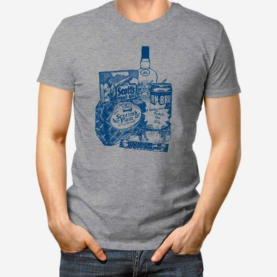 Glasgow Breakfast Scottish T-shirt in heather grey by Gillian Kyle.