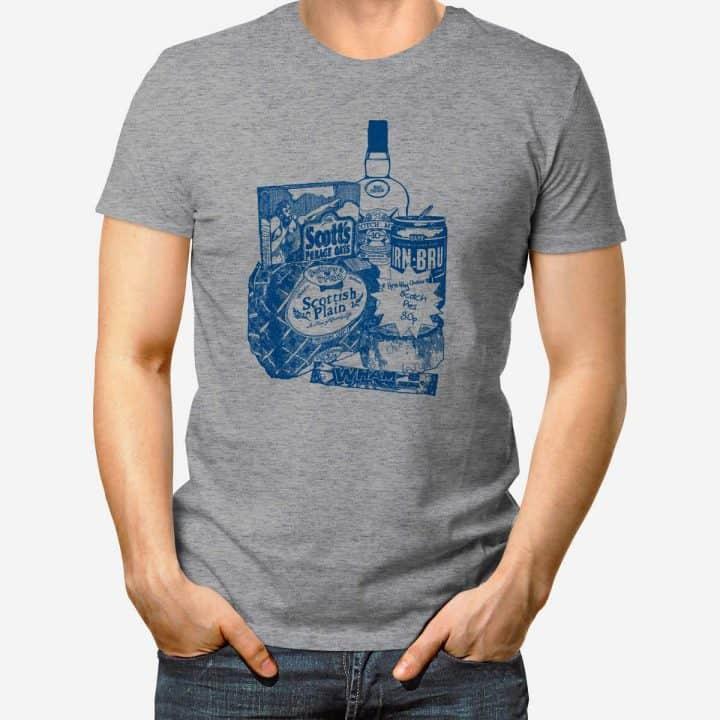 Glasgow Breakfast Scottish T-shirt in heather grey by Gillian Kyle.