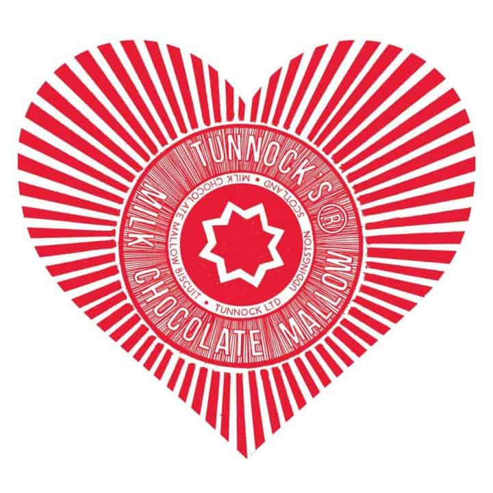 Red Love Tunnock's Valentines Day gift t-shirt by Gillian Kyle featuring the Teacake Wrapper in a heart shape print detail