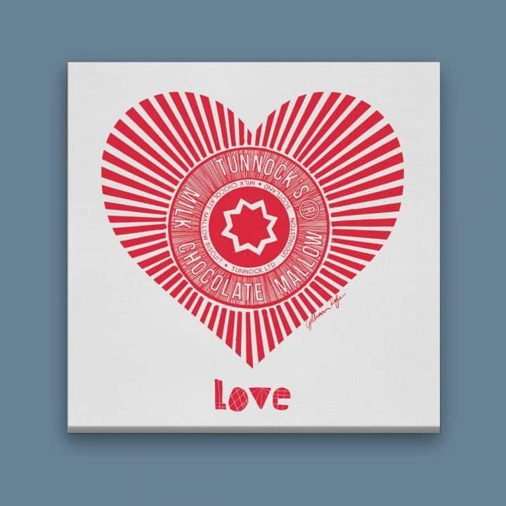 Tunnock's Love Heart Shaped Teacake Wrapper Scottish wall art canvas print valentines gift by Gillian Kyle