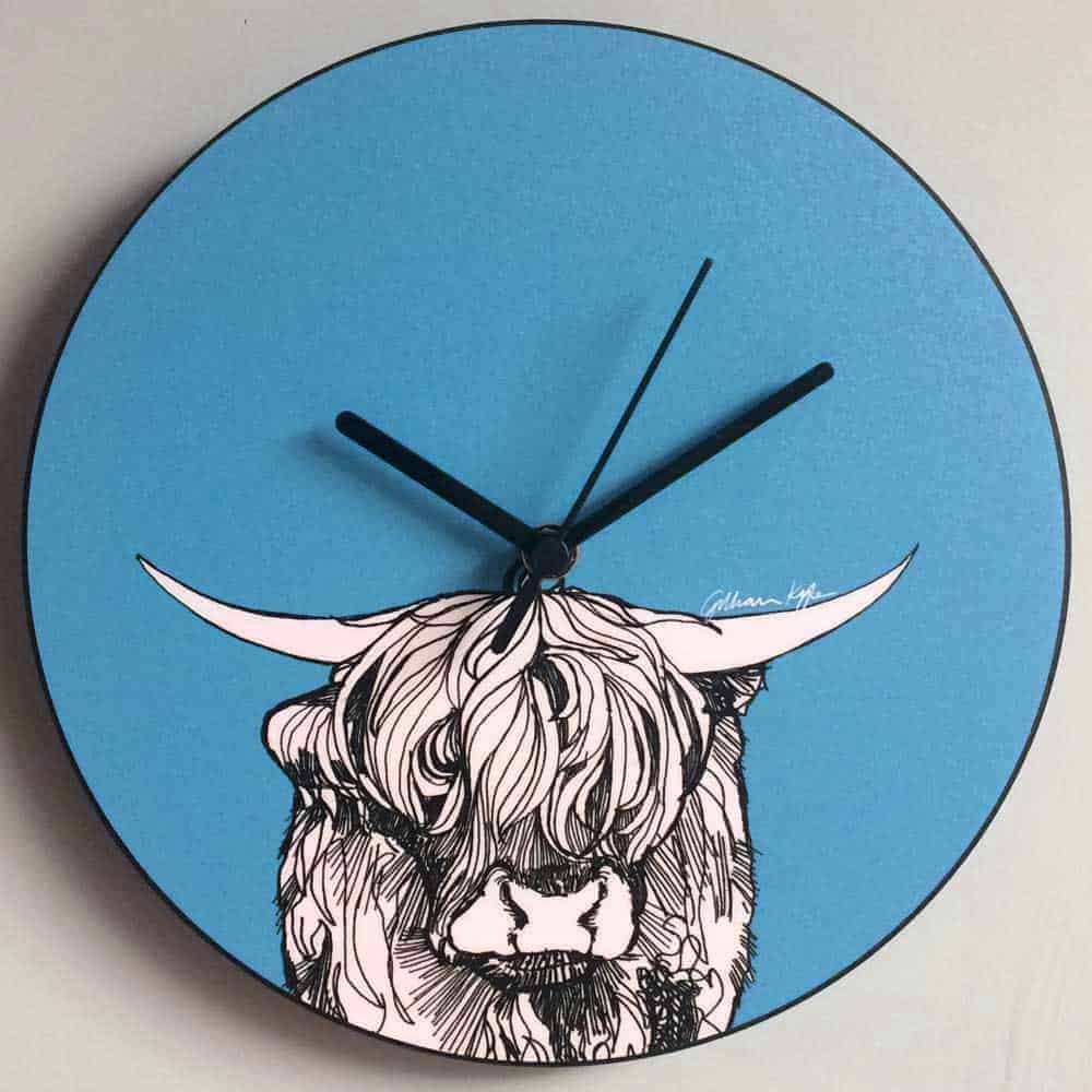 Highland Cow Scottish Kitchen Wall Clock by Gillian Kyle