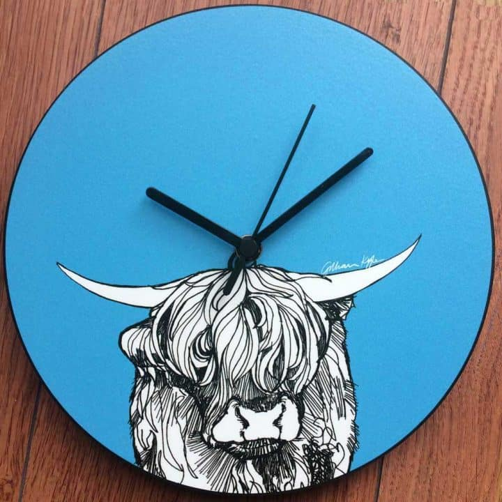 Scottish Highland Cow Cattle Wall Clock in red by Scottish designer Gillian Kyle