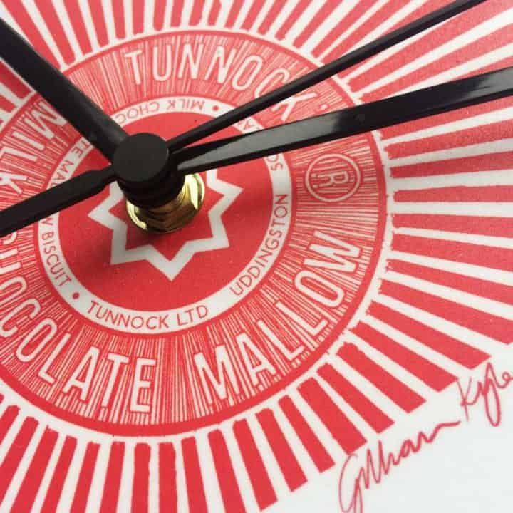 Scottish Love Tunnock's Teacake Wall Clock in red by Scottish designer Gillian Kyle