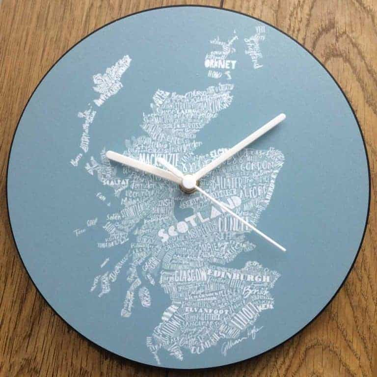 Scottish Map Wall Clock in red by Scottish designer Gillian Kyle