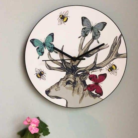 Scottish Stag Butterflies and Bees Wall Clock by Scottish designer Gillian Kyle