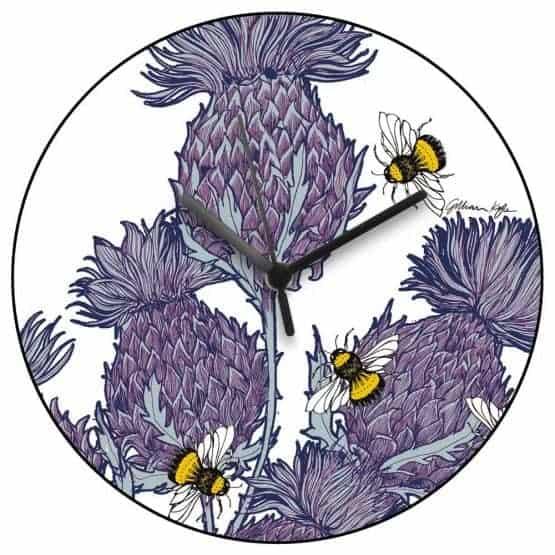 Scottish Thistles Wall Clock in red by Scottish designer Gillian Kyle