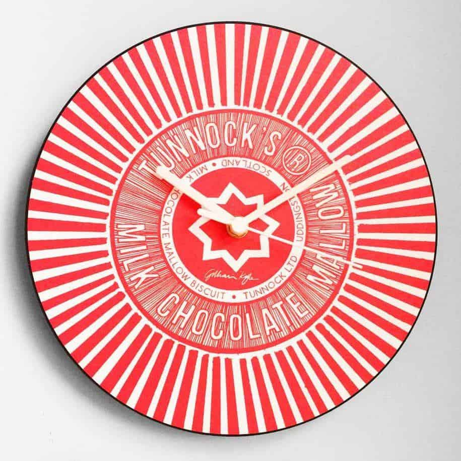 Scottish Tunnock's Teacake Wall Clock in red by Scottish designer Gillian Kyle