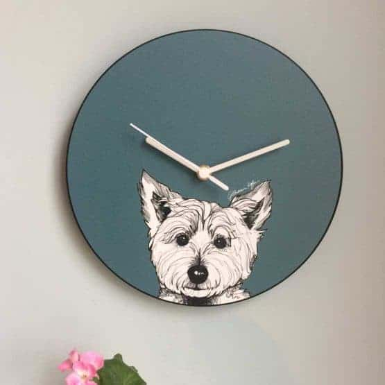 Scottish West Highland Terrier Westie Dog Wall Clock in red by Scottish designer Gillian Kyle