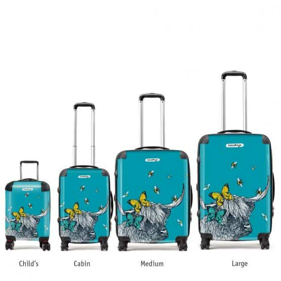 Scottish Highland cow suitcases with butterflies and bees by designer Gillian Kyle