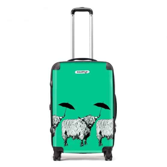 Dougal Highland Cow pattern case in green by designer Gillian Kyle
