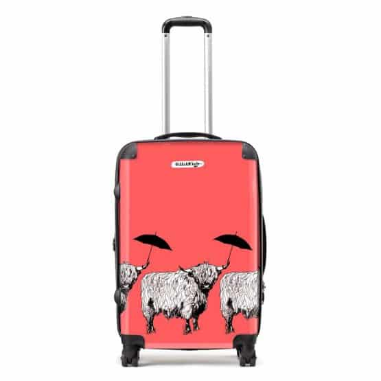 Dougal Highland Cow pattern case in red by designer Gillian Kyle
