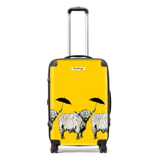 Dougal Highland Cow pattern case in sunshine yellow by designer Gillian Kyle