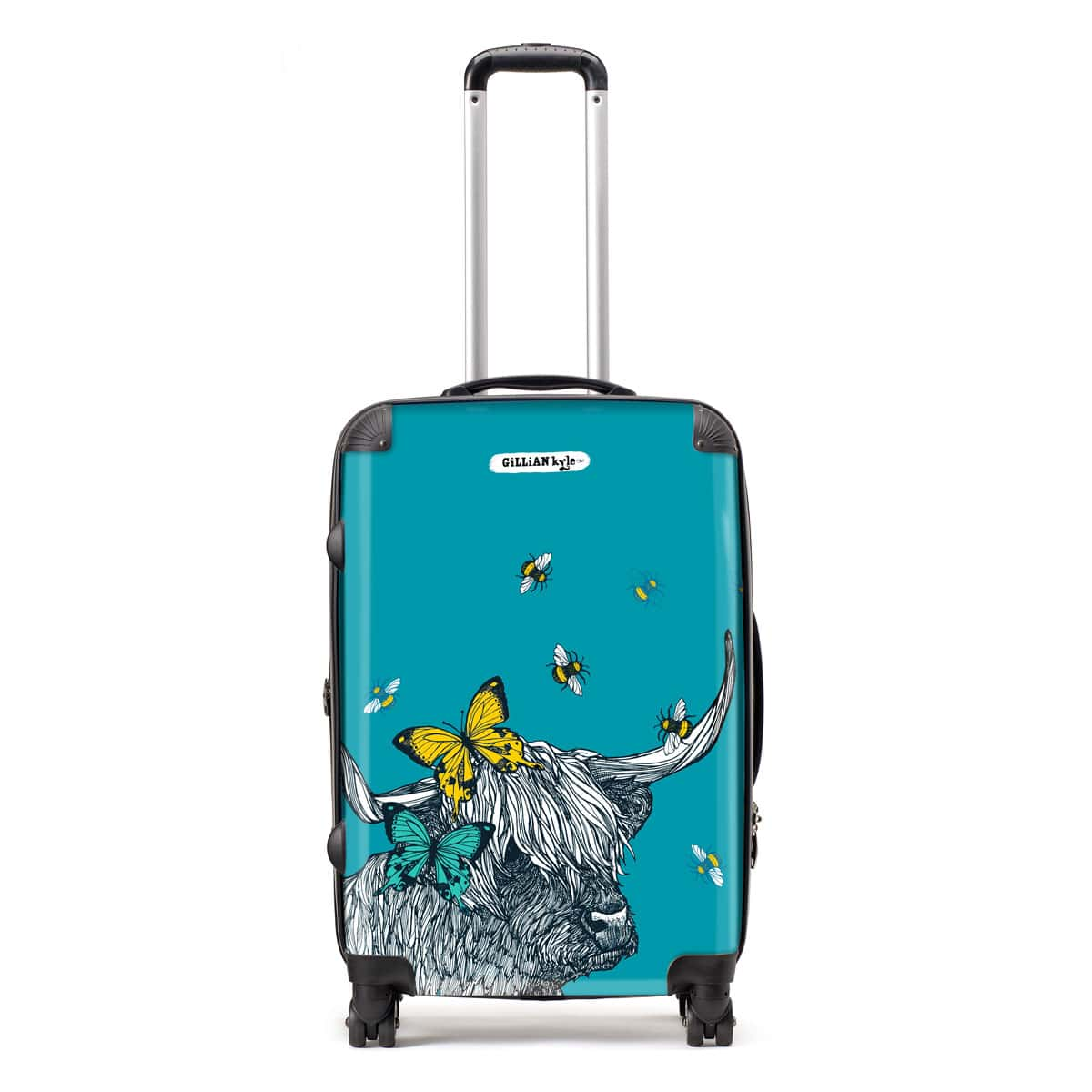 Scottish Highland cow suitcase with butterflies and bees by designer Gillian Kyle