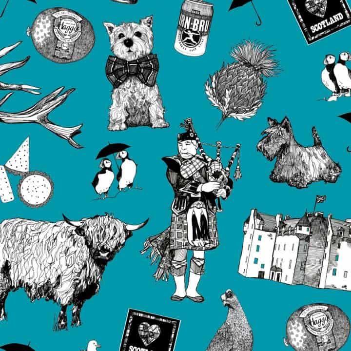 Print detail of Love Scotland Scottish icons suitcase featuring Irn-Bru, Highland cows, bagpipes and puffins from Gillian Kyle