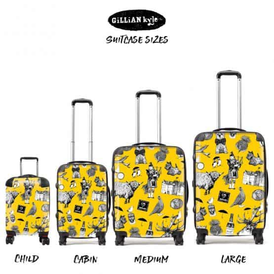 Love Scotland Scottish icons suitcases featuring Irn-Bru, Highland cows, bagpipes and puffins from Gillian Kyle