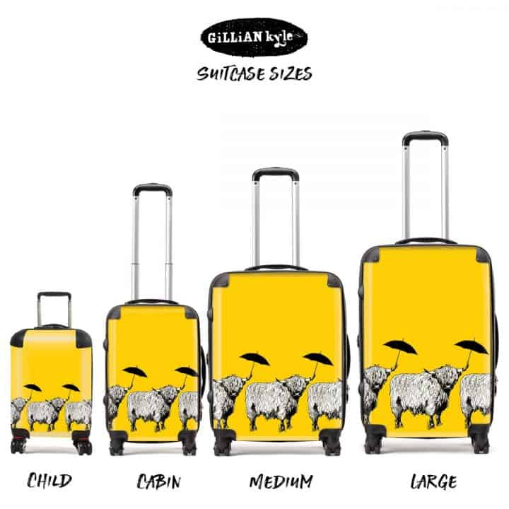 Dougal Highland Cow pattern case in sunshine yellow by designer Gillian Kyle - all sizes