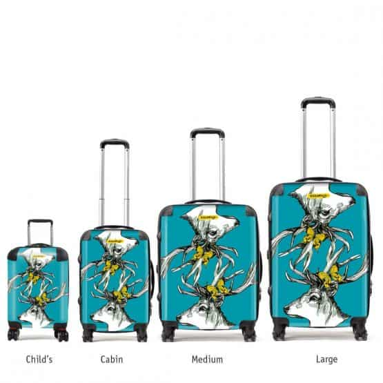 Designer suitcase by Gillian Kyle with Scottish stag with butterflies and bees in turquoise