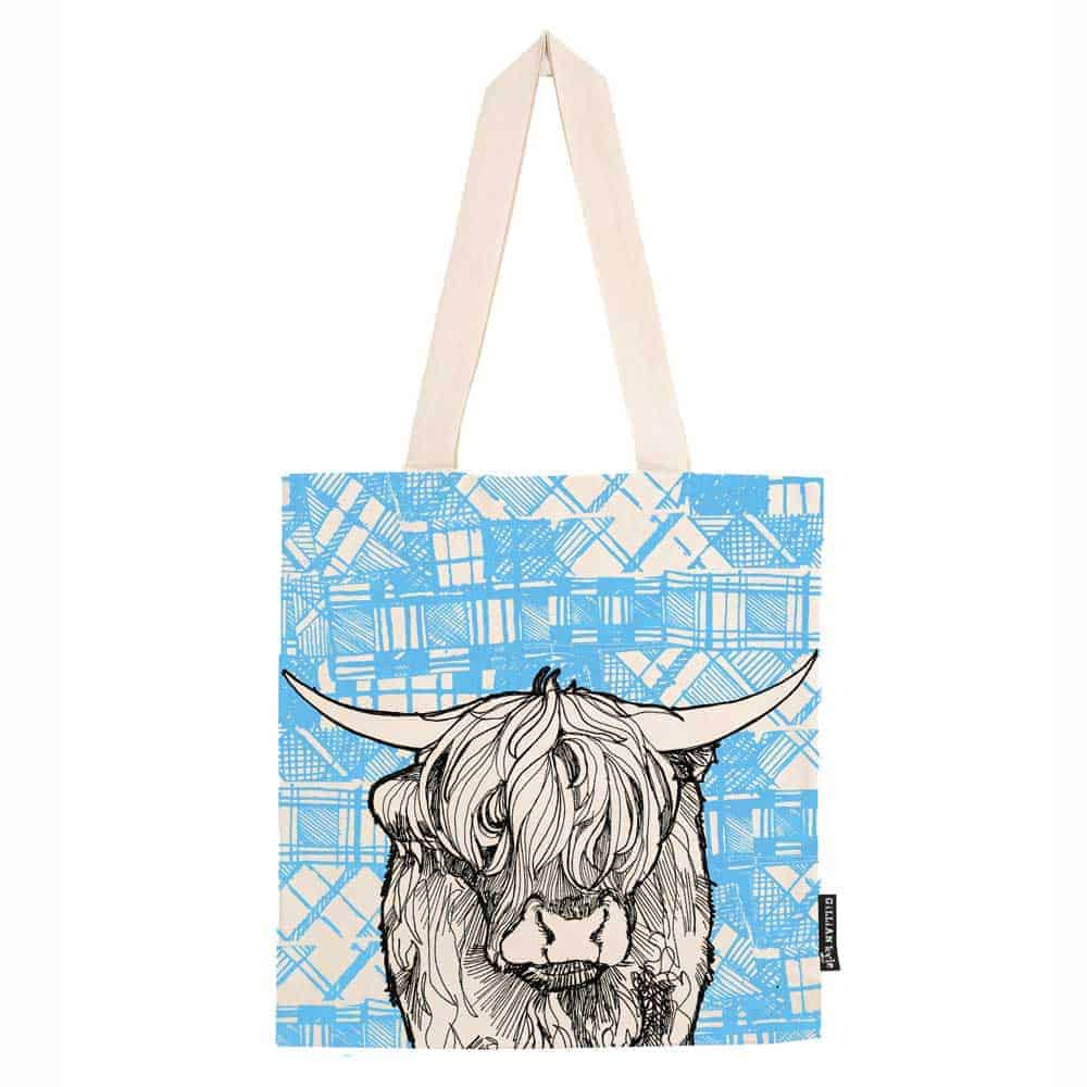 Tartan Coo Scottish Highland Cow Tote Bag By Gillian Kyle