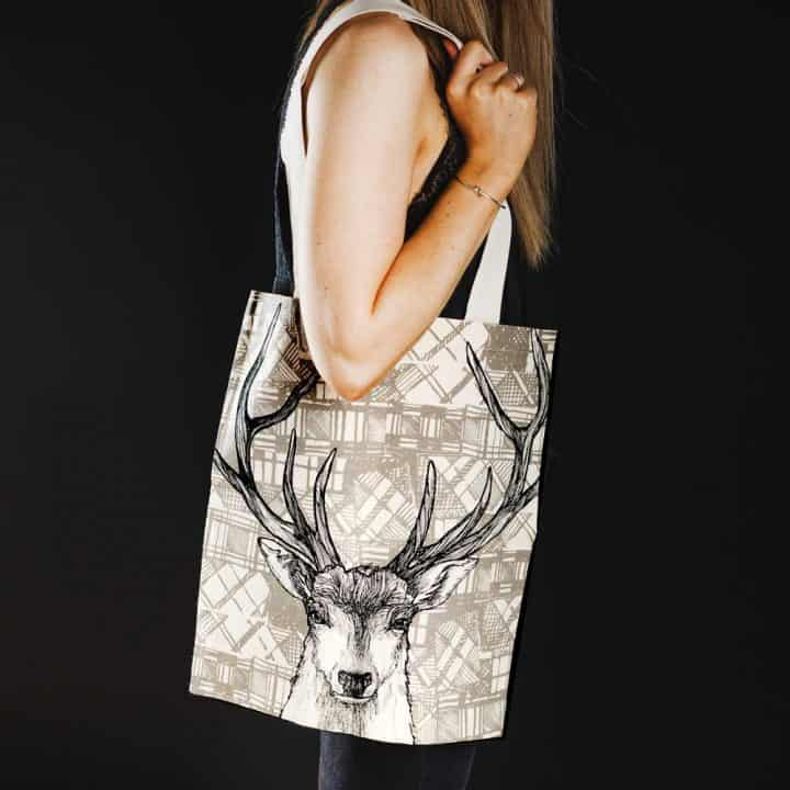 Tartan Stag tote bag by Gillian Kyle