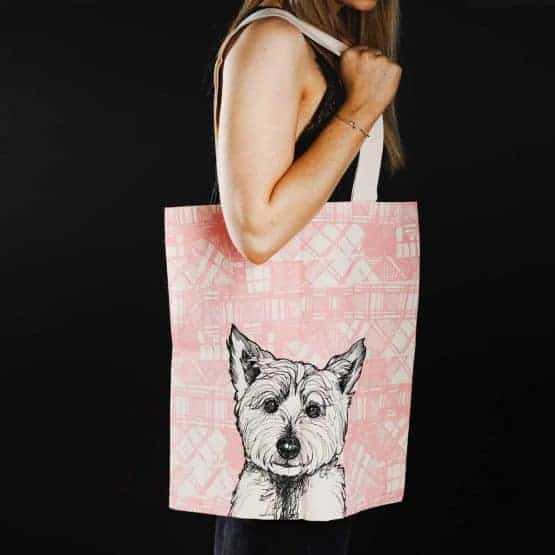 Tartan Westie West Highland Terrier tote bag by Gillian Kyle