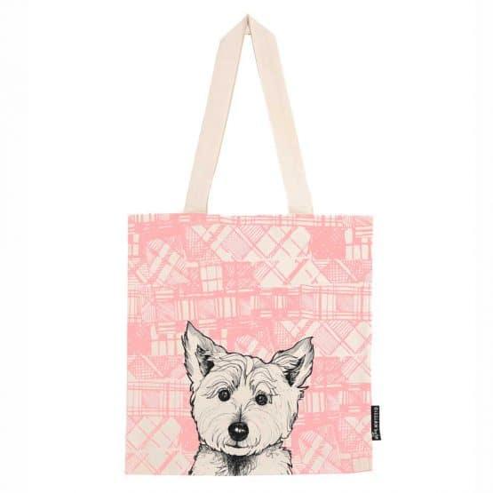 Tartan Westie West Highland Terrier tote bag by Gillian Kyle