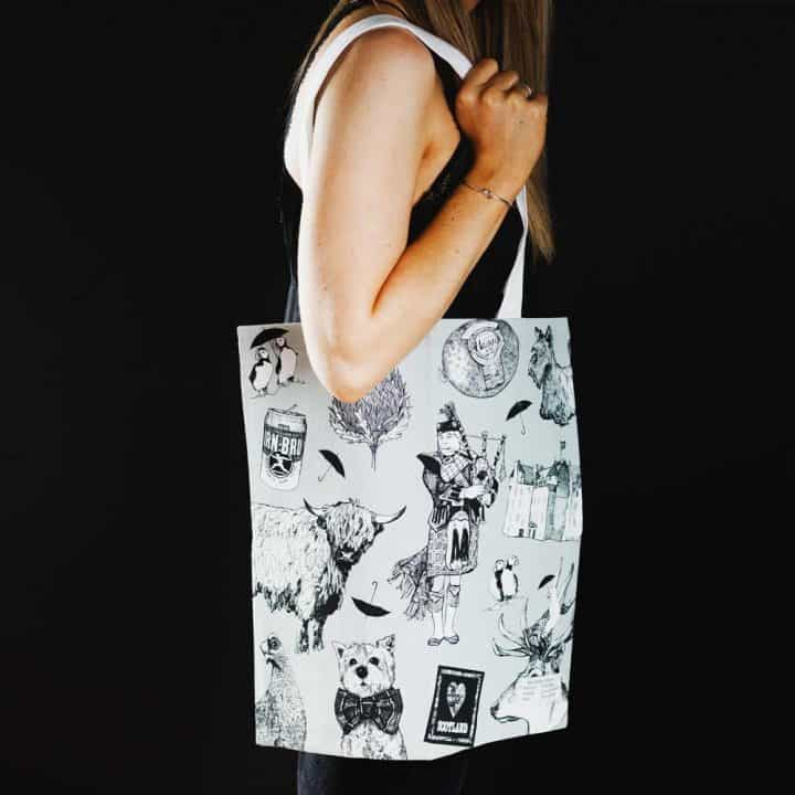 Love Scotland Scottish icons cotton tote bag from Gillian Kyle