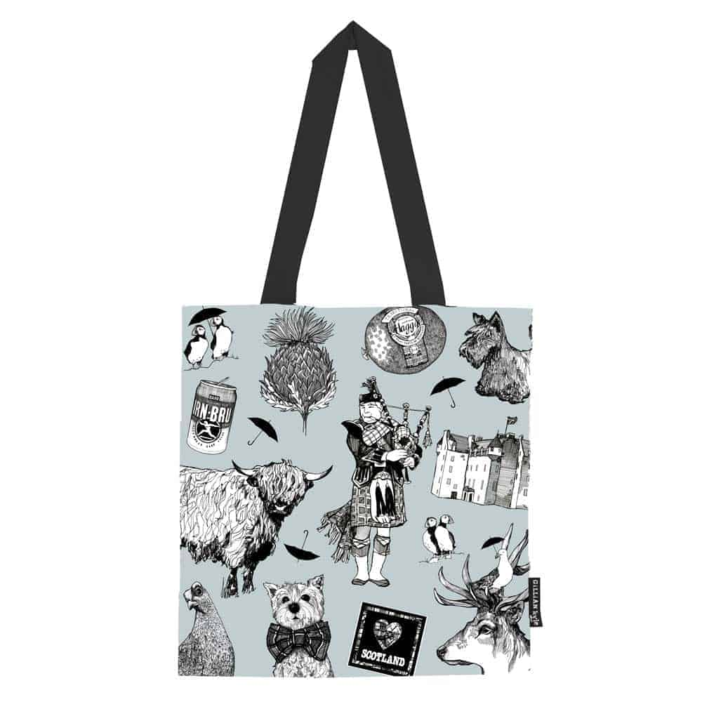 Love Scotland Scottish icons cotton tote bag from Gillian Kyle f96232307ce34