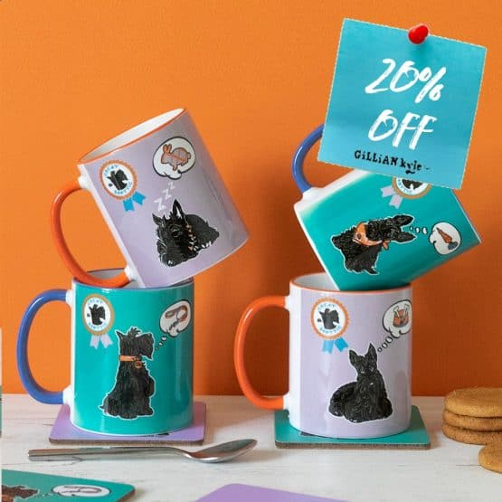 Great Scottie Set of Scottish Highland Terrier mugs celebrating Scotty Dogs by Gillian Kyle