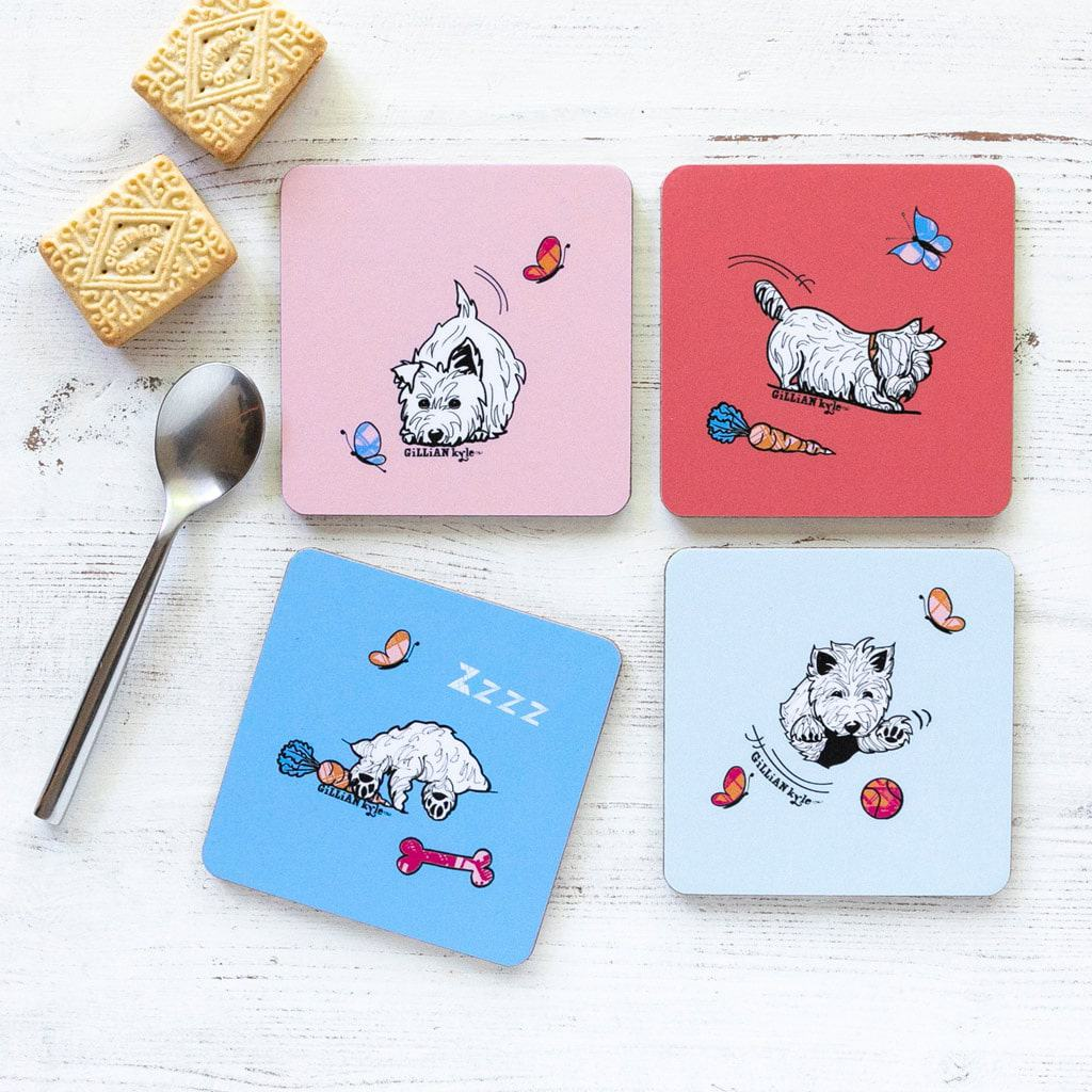 Westie World Set of Scottish West Highland Terrier Westy coasters by Gillian Kyle