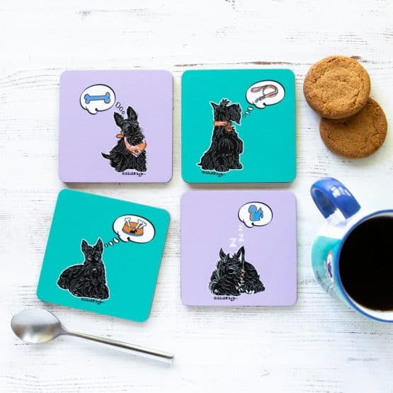Great Scottie Set of Scottish Highland Terrier coasters celebrating Scotty Dogs by Gillian Kyle