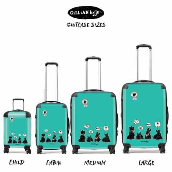 Great Scottie Scottish Terrier suitcases and luggage celebrating Scotty Dogs by Gillian Kyle