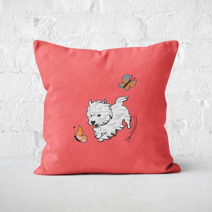 Westie World Scottish West Highland Terrier Westy cushion by Gillian Kyle