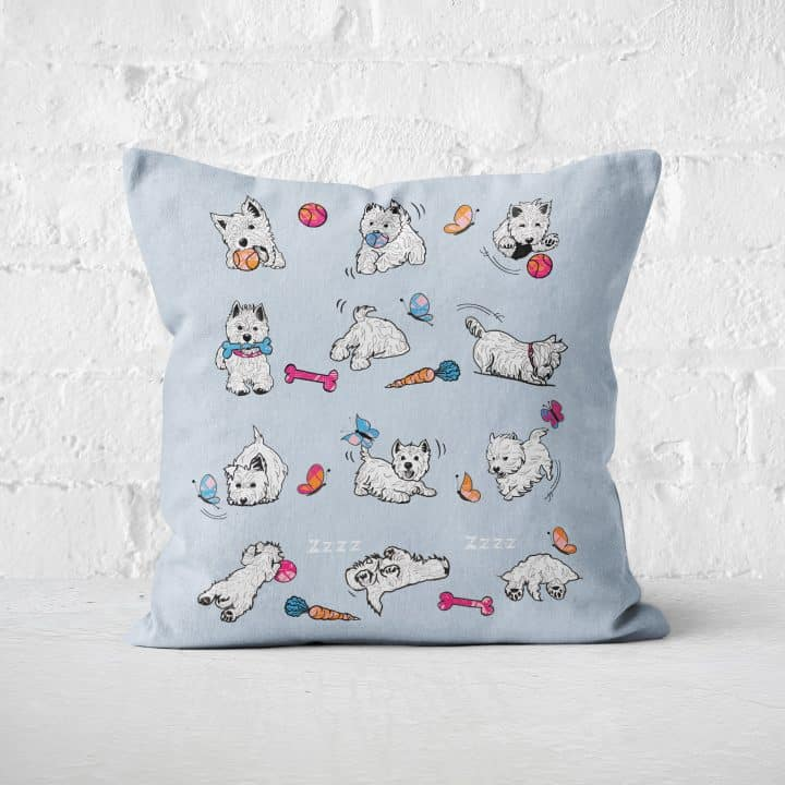 Westie World Scottish West Highland Terrier Westy cushion by Gillian Kyle