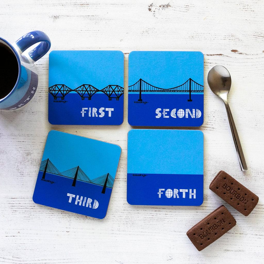 Set of 4 coasters celebrating Scottish engineering and the Forth Rail Bridge, Forth Road Bridge and Queensferry Crossing by Gillian Kyle