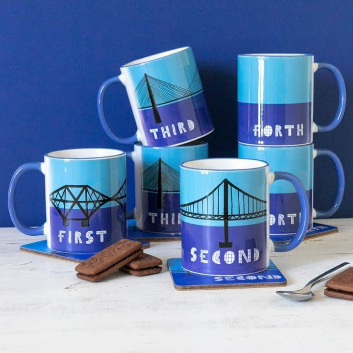 Forth Bridges Set of 4 mugs by Gillian Kyle